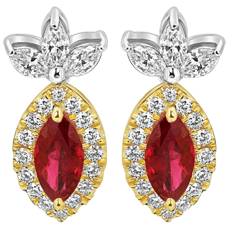 Ruby Diamond Halo Two-Color Gold Earring