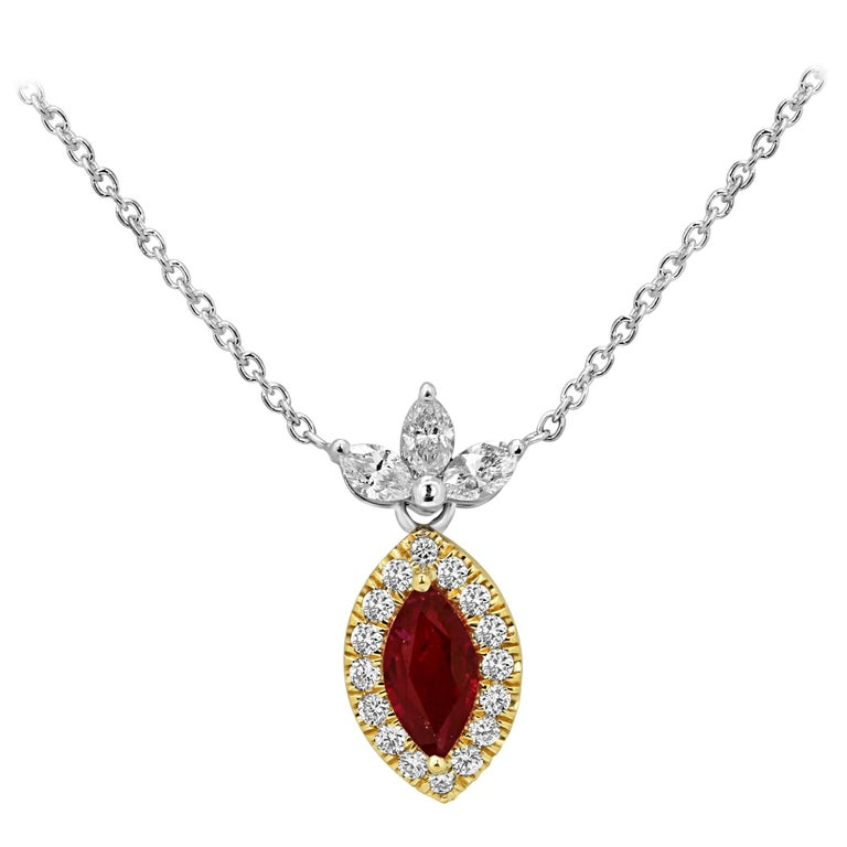 Ruby Diamond Halo Two Color Gold Necklace For Sale