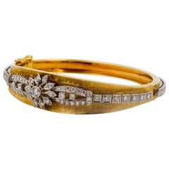 14 Karat Yellow Gold Cuff Bangle Bracelet 1.75 Carat Diamonds