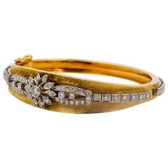 14 Karat Yellow Gold Cuff Bangle Bracelet 1.75 Carat Diamonds