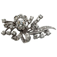 1.20 Carat Diamonds Bow and Spray Design Brooch
