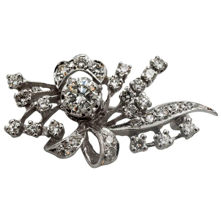 1.20 Carat Diamonds Bow and Spray Design Brooch