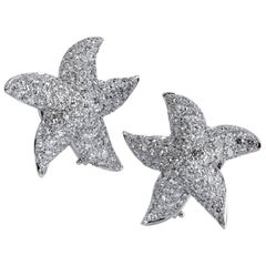 4.50 Carat Diamond Pave Starfish Omega-Back Earrings