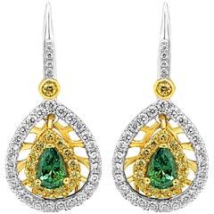Alexandrite Diamond Halo Two-Color Gold Dangle Earring
