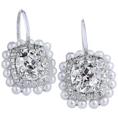 H & H 2.52 Carat Old Mine Cushion Cut Diamond and Akoya Pearl Earrings
