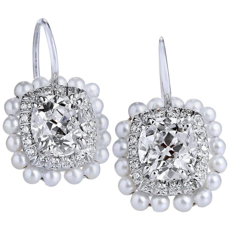 H & H 2.52 Carat Old Mine Cushion Cut Diamond and Akoya Pearl Earrings
