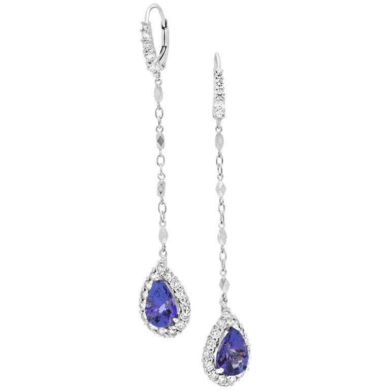 Tanzanite Diamond Halo Gold Dangle Earring