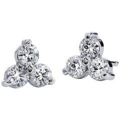 H & H 0.53 Carat Six Diamond Shared-Prong Stud Earrings