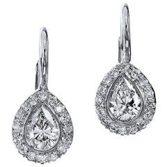 0.41 Carat Pear Shaped Diamonds in 18 karat White Gold with Lever-Back Earrings