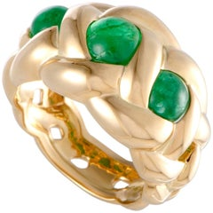 Van Cleef & Arpels Emerald Braided Gold Band Ring