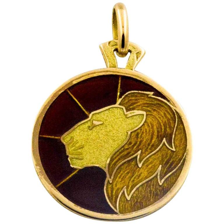 Plique a Jour Leo 18 Karat Yellow Gold Pendant