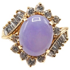 Lavender Jade Diamond Gold Ring