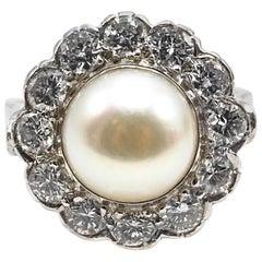 Pearl Diamond Platinum Cocktail Ring