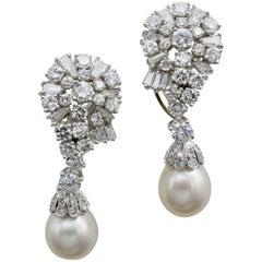 Pearl and Diamond Drop Earrings in White Gold with Removable Pearls