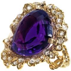 Impressive Heart Shape Amethyst Rose Diamond 18 Karat Yellow Gold Ring