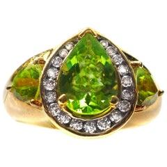 Peridot Diamond 18 Karat Yellow Gold Ring