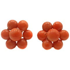 Antique Coral Gold Ear Clips