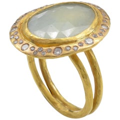 Light Green Sapphire and Diamond Ring Organic and Romantic Yellow Gold