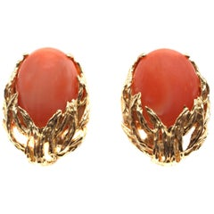 Coral Gold Ear Clips