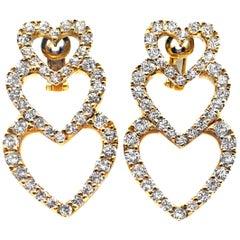 Diamond 18 Karat Yellow Gold Dangling Hearts Ear Pendants