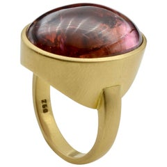 Large Cabochon Rubelite Tourmaline and 18 Karat Gold Ring