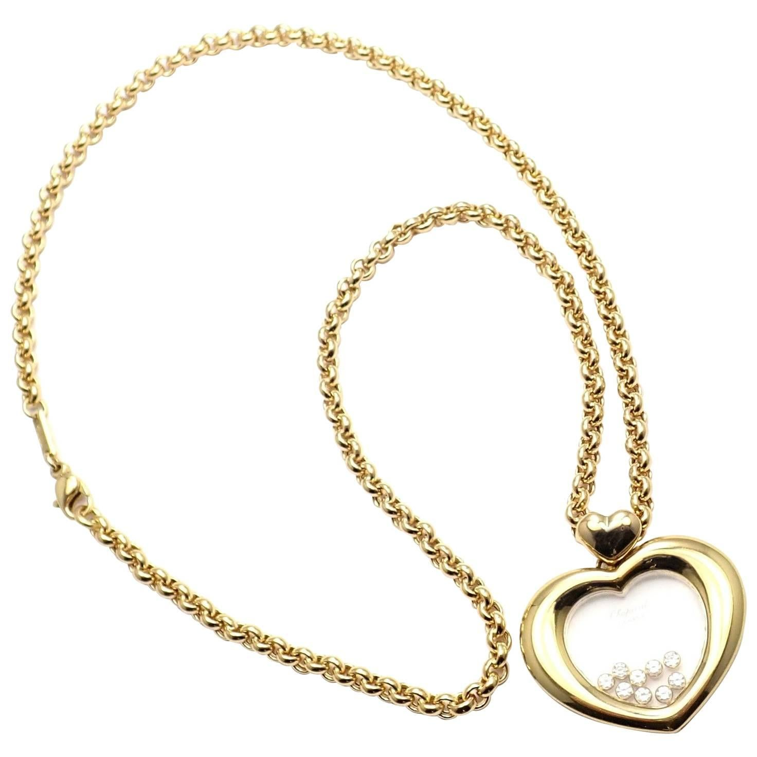 Chopard Large Happy Diamond Heart Yellow Gold Pendant Necklace
