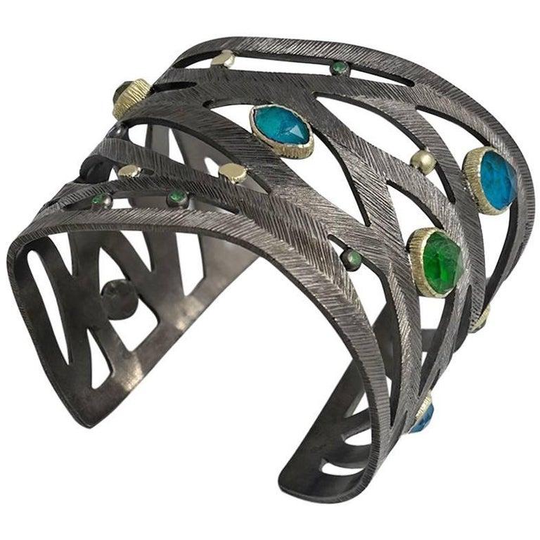 Apatite Chrysocolla Peridot Contemporary Sterling Silver Cuff Bracelet