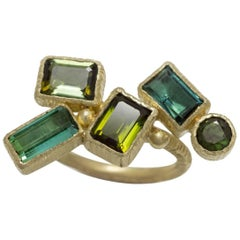 Green Tourmaline Contemporary Green Gold Geometrical Ring