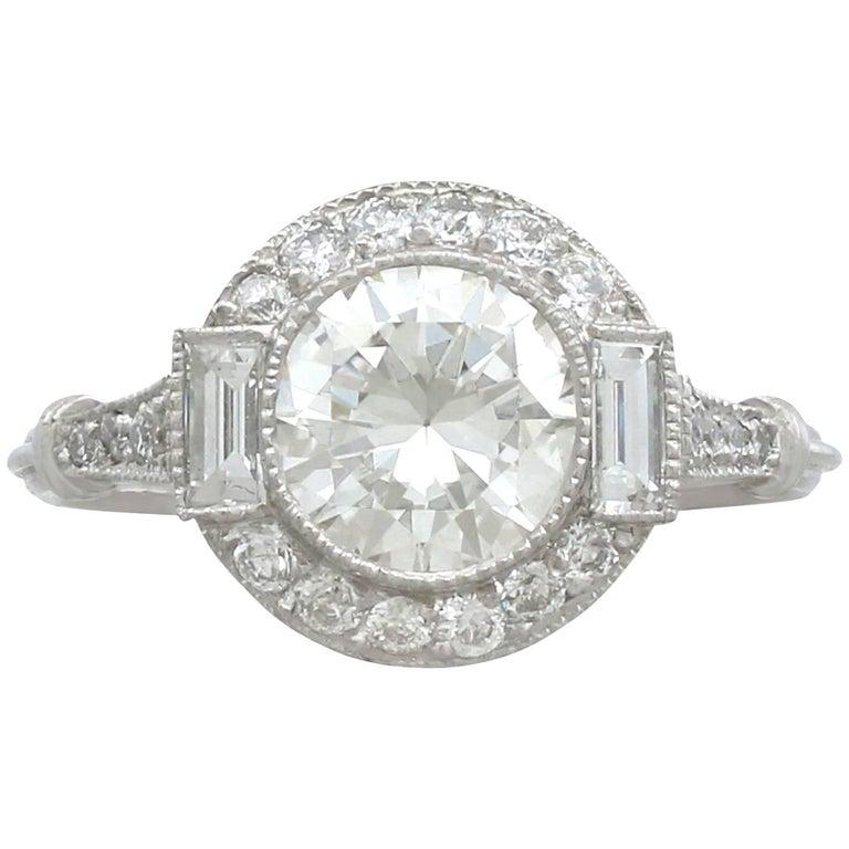 1.82 Carat Diamond and Platinum Halo Ring