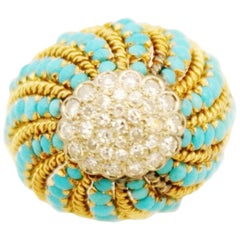 Retro Gold Turquoise and Diamond Bombe Cocktail Ring