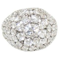 French Retro Diamond Platinum Bombe Cocktail Ring