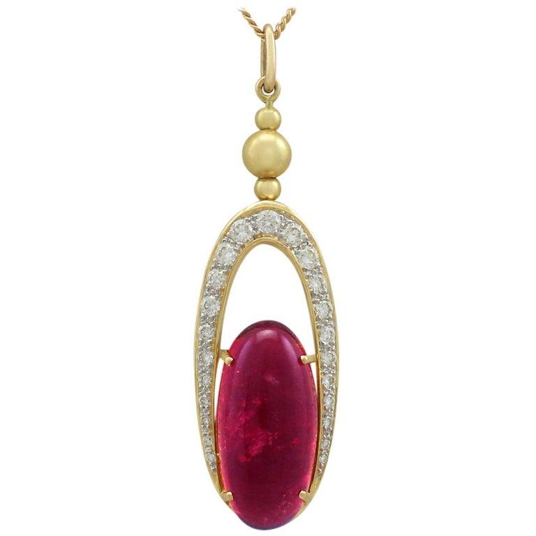1980s 9.36 Carat Pink Tourmaline and Diamond Yellow Gold Pendant