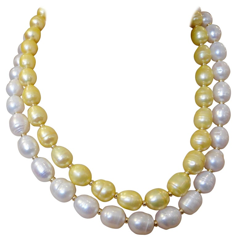 Michael Kneebone Golden Pearl White Pearl Baroque Double Strand Necklace