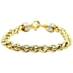 David Yurman Pave Diamond Yellow Gold Wheat Bracelet