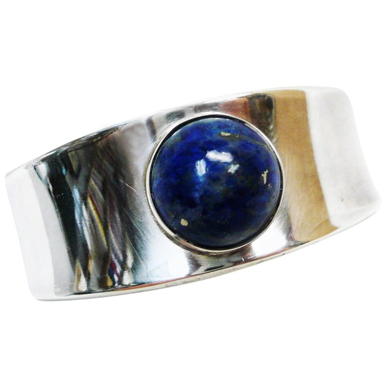Georg Jensen Denmark Sterling Lapis Lazuli Cuff Bracelet #188 by Paul Hansen
