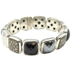 David Yurman Chiclet Collection Sterling Silver, Black Onyx and Diamond Bracelet