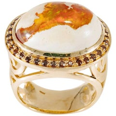 Fire Opal and 18 Karat Diamond Ring