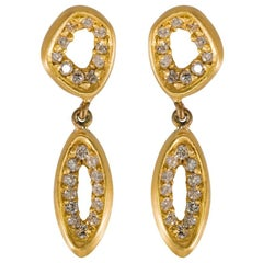 Diamond Earrings Drop 18K Yellow Gold Modern Organic