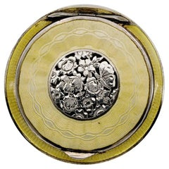 1920 Art Deco Austria Enamel and Sterling Silver Compact
