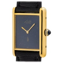 Cartier Vermeil Lapis Dial Tank Louis Manual Wristwatch, circa 1970s