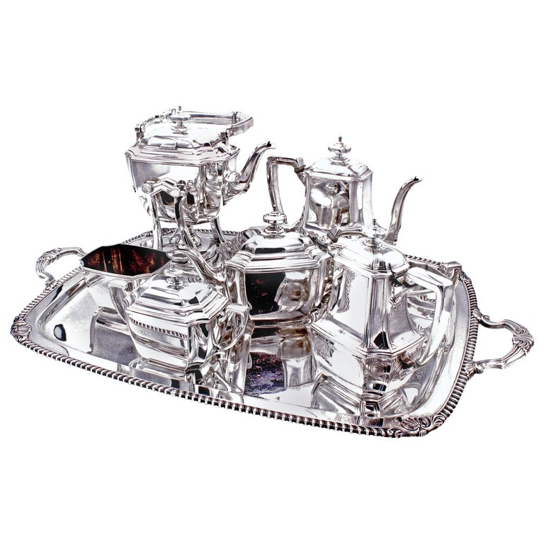 Tiffany & Co. Hampton Sterling Silver Tea and Coffee Set on Tray For Sale