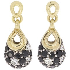 Lagos Nightfall Pave Black Spinel Diamond Gold and Silver Teardrop Earrings