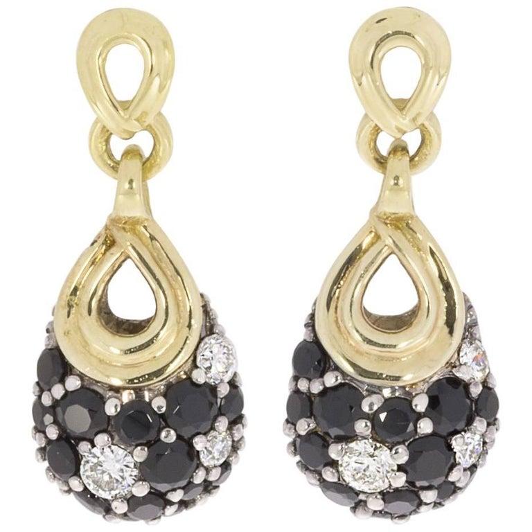 Lagos Nightfall Pave Black Spinel Diamond Gold and Silver Teardrop Earrings