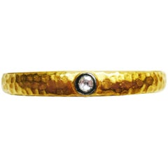 Kurtulan 24 Karat Gold Sterling Hammered Bangle Bracelet with Diamond Accent