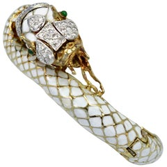 White Enamel Snake Serpent Bracelet Diamonds Emerald Eyes