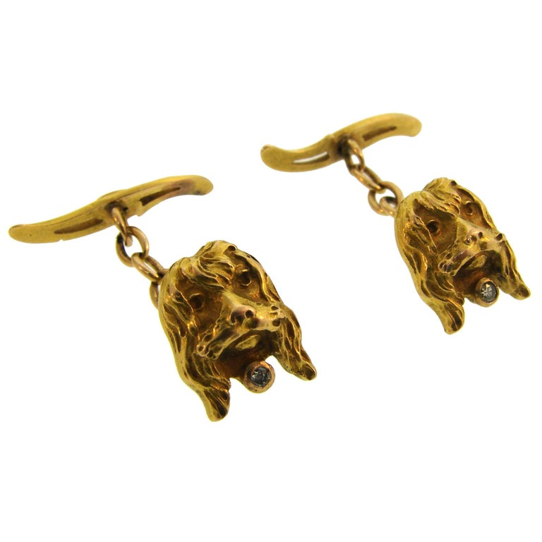 Cute and fun spaniel dog cufflinks. Elegant and wearable, the cufflinks are a great addition to your jewelry and accessories collection.  Made of 14 karat (tested) yellow gold and accented with round faceted diamond. The spaniel's heads measure 3/8