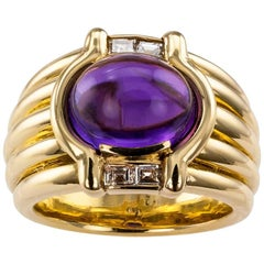 Cabochon Amethyst Diamond Gold Ring