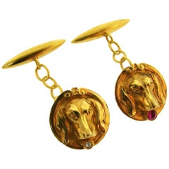 Victorian Diamond Ruby Yellow Gold Dog Cufflinks