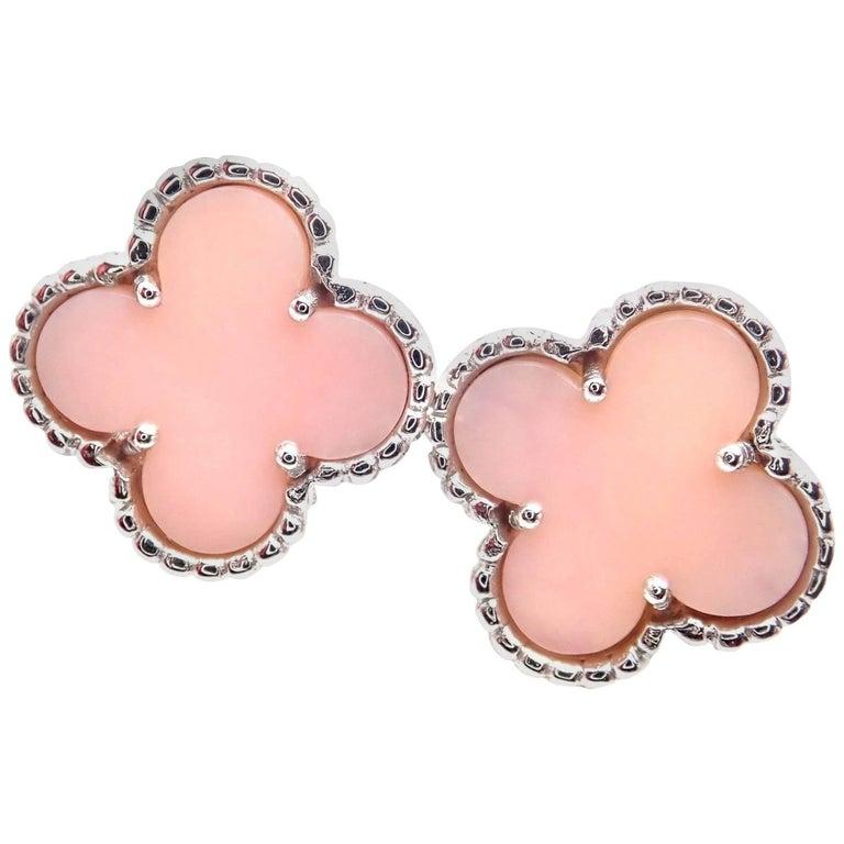 Van Cleef & Arpels Vintage Alhambra Pink Opal White Gold Earrings