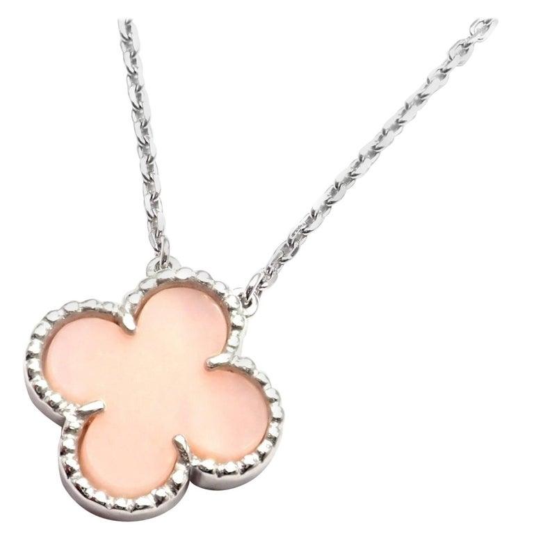 Van Cleef & Arpels Vintage Pink Opal White Gold Pendant Necklace